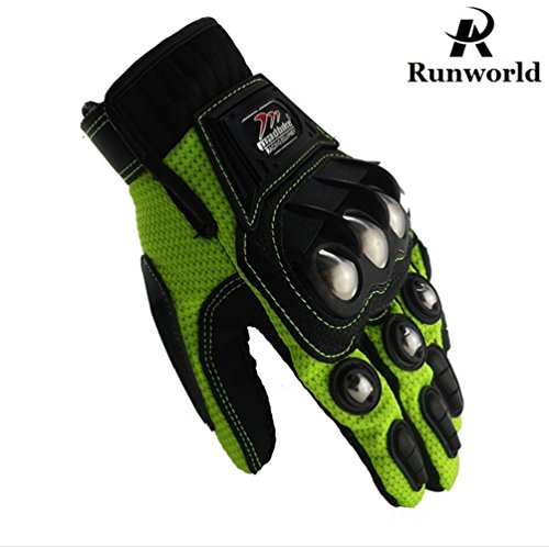 Runworld Motorcycle Gloves,Dirt Bike Motocross Motorbike Power Sports Racing Gloves Steel Reinforced Knuckle (Green, Large)