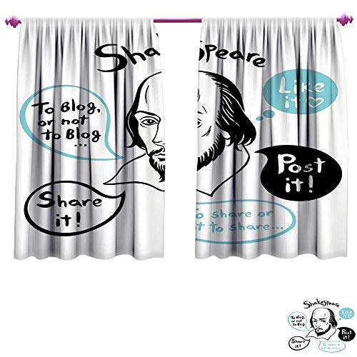 - Funny Window Curtain Drape Shakespeare Portrait with Speech Bubbles and Social Media Citation Illustration Customized Curtains W84 x L72 Blue Black White