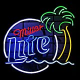 Miller Lite Palm Tree Real Glass Beer Bar Display Neon Signs 24x20