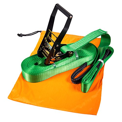 "WYZworks Slackline 49' feet (15m) x 2"" inch (Green, Red, Purple, Blue, Yellow or Lighting) With Free Carry Bag"