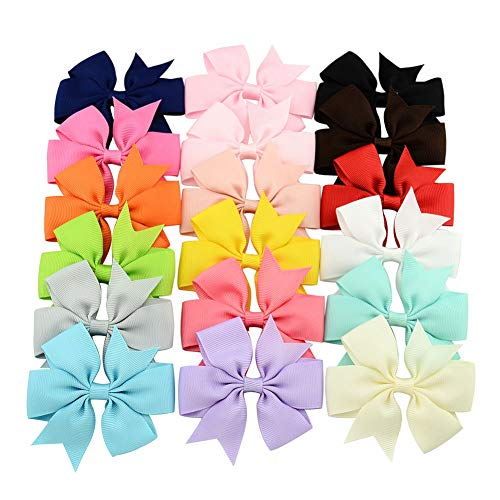 Hair Bows for Girls,Alligator Clips Ribbon Hair Bow Clips Barrettes For Teens Kids Babies Toddlers (18 PCS Bowknot Without clip)