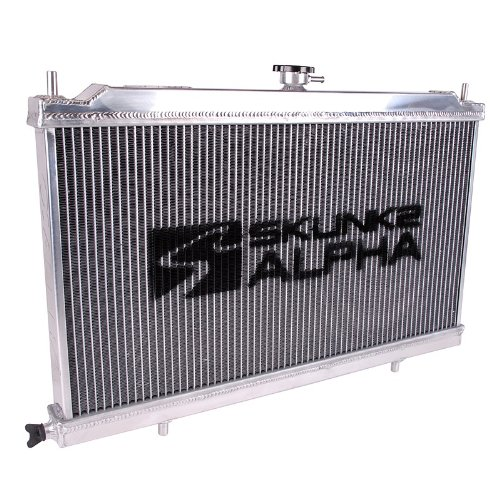 91 Crx Racing Series - Skunk2 Racing 349-05-1500 Alpha Series Radiator Incl. 1.1Bar S2 Radiator Cap 1.25 in. Inlet/Outlet Dual Core Design Aluminum Alpha Series Radiator