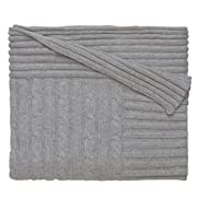 Elegant Baby 100% Cotton Wide Cable Knit Blanket with Ribbed Border, Gray, 36  x 45