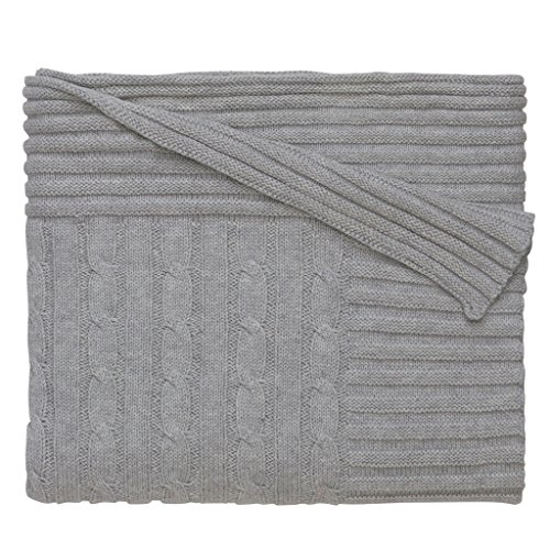 New Gray Ribbed (Elegant Baby 100% Cotton Wide Cable Knit Blanket with Ribbed Border, Gray, 36