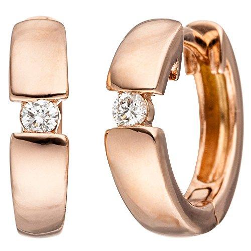 Boucles d'oreilles créoles 13x 3,3mm avec brillants 2diamants en or 585or rouge femme