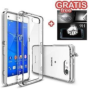 Sony Xperia Z3 Compact - Funda Carcasa Rearth Ringke Fusion Protección AntiChoque [ Transparente ] + Protector * Vidrio GRATIS * para Sony Xperia Z3 Compact