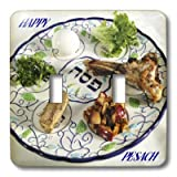 lsp_37364_2 Florene Jewish Theme - Pesach Plate With Passover Foods - Light Switch Covers - double toggle switch
