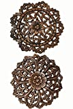 Asiana Home Decor Set of 2 Round Carved Wood Wall Art. Oriental Carved Lotus Round Wood Plaque in Brown Finish Size 12''x12''x0.5''
