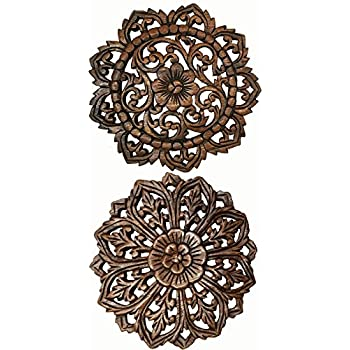 Set Of 2 Round Carved Wood Wall Art. Oriental Carved Lotus Round Wood  Plaque In Part 79