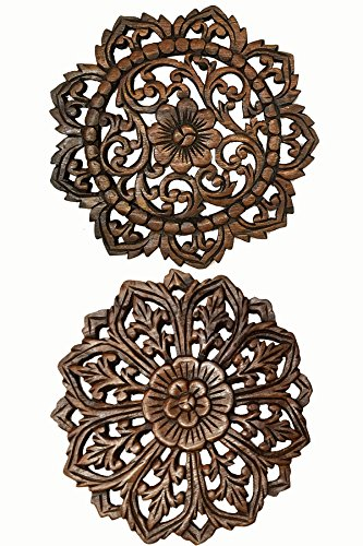 - Asiana Home Decor Set of 2 Round Carved Wood Wall Art. Oriental Carved Lotus Round Wood Plaque in Brown Finish Size 12