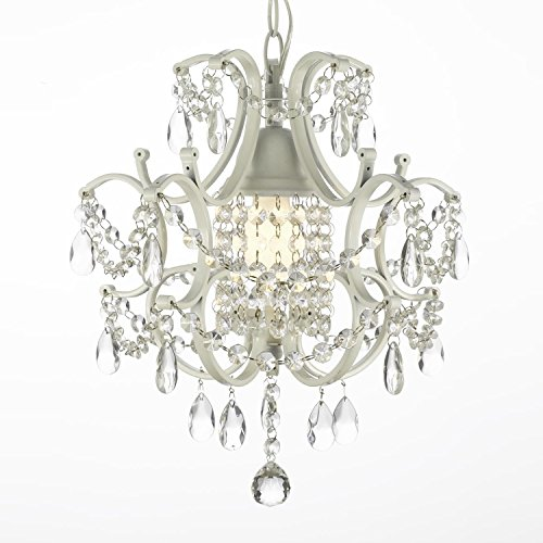 - Jac D'Lights J10-592/1 Wrought Iron Crystal Chandelier, 14x11x1-Inch, White