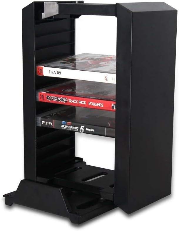 Invero® Soporte de Torre de Almacenamiento para Juegos para Playstation PS4, PS4 Slim, PS4 Pro y Xbox One S – Incluye Soporte de Consola Vertical y 12 Videojuegos BLU-Ray Disc Rack –