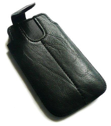 Emartbuy® Value Pack Para Huawei Ascend P6 Negro Pu Cuero Slide Asegurado Por Bolsa / Caja / Manga / Titular (Tamaño 3Xl) Con Mecanismo Pull Tab + Compatible Micro Usb Car Charger + Protector De Panta