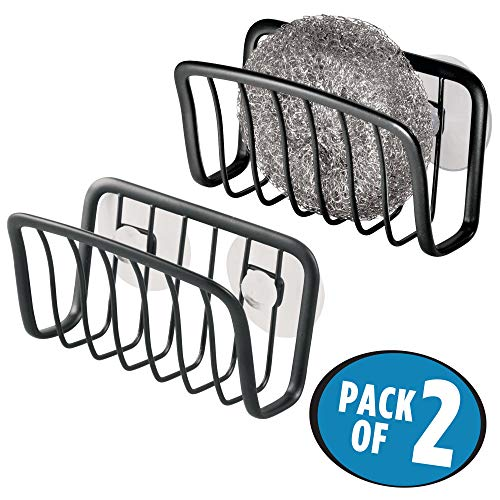 mDesign Kitchen Sink Organizer Caddy, Storage Holder for Sponges, Soaps, Scrubbers - Quick Drying Wire Basket Design with Strong Suction Cups - Pack of 2, Steel with Matte Black Finish