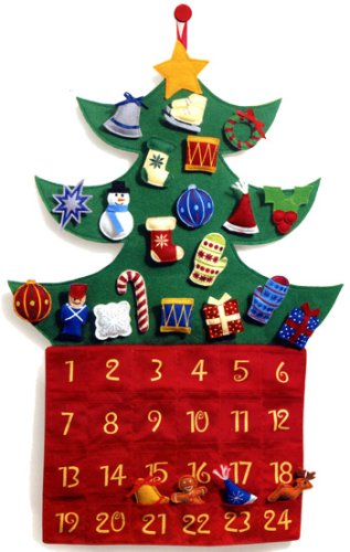 Amazon.com: Christmas Tree Felt Advent Calendar with Velcro ...