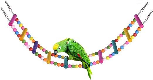 Ysoom – Escalera de Madera para Colgar pájaros, Juguete, Cadena de Colores, Colgador Colgante, Juguete masticable, Jaula de Accesorios, para pequeños, Mediano, papagayo, Macaw, periquitos: Amazon.es: Productos para mascotas