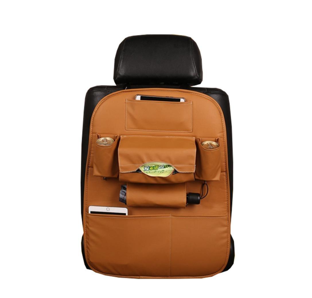 Car Auto Leather Seat Back Multi-Pocket Storage Bag,Elaco Car Organizer Holder Hanger (Khaki)