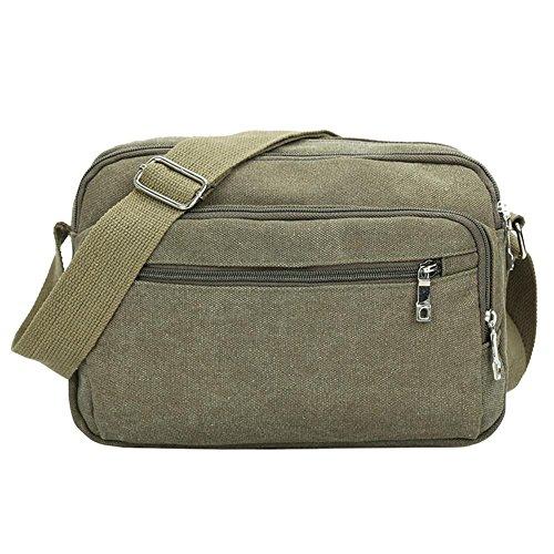 Domybest cremallera hombres canvas Messenger Satchel Bag color sólido casual deportes hombro bolsas bolso verde verde verde