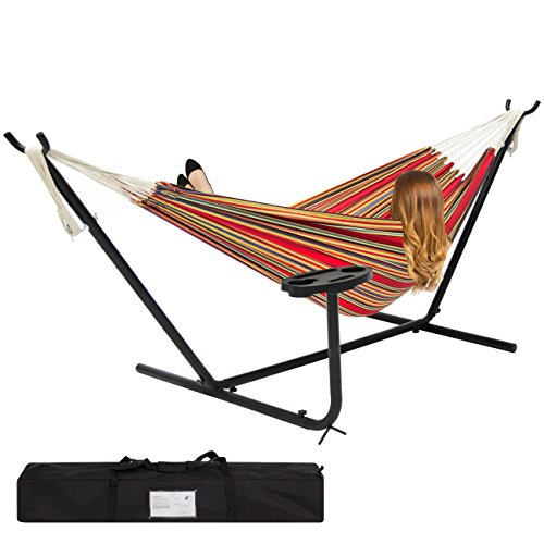 Best Choice Products Outdoor Double Hammock Set w/ Steel Stand, Cup Holder, Tray, and Carrying Bag - Red Stripe