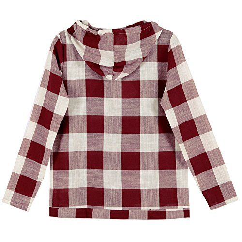 Rouge Sweat Carreau Femme shirt Blouses Manches Capuche Chemisier LAEMILIA Top Longues shirt T RIqxd0Pn7w