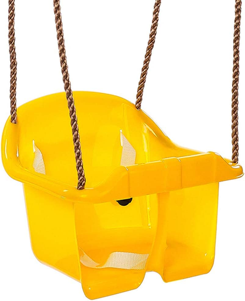QVIVI Niños Bebé Columpio Respaldo Alto Asiento de Columpio Infantil Jardín Exterior para niños Silla giratoria para niños Amarillo: Amazon.es: Hogar