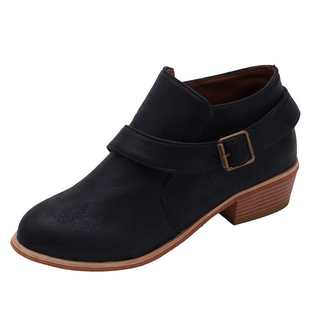 Botas Cortas para Mujer, Mujeres de pie Redondo Zapatos de Color Puro Botines Hebilla Correa de tacón Cuadrado Solo Zapato