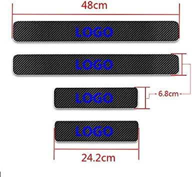 shanhua Can be Customized For SKODA KAROQ Carbon Fiber Door Sill Protector Anti-kick Scratch Welcome Pedals Guards Threshold Sticker With Word KAROQ Blue 4Pcs