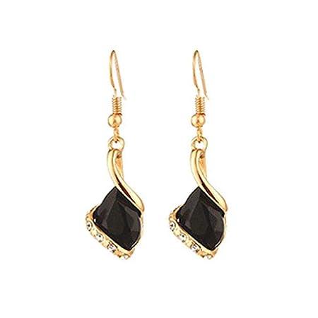 Pendientes del collar de la manera, Scpink joyería de las mujeres del sistema del collar de la cadena de Bohemia Pendientes Joyería (Negro)