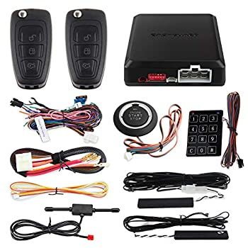 Image of Alarm Systems EASYGUARD EC002-FO Hopping Code Intelligent PKE RFID car Alarm System Push Engine Start Stop Button auto Lock Unlock car Door Remote Engine Starter Touch Password Entry