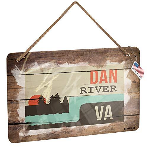 NEONBLOND Metal Sign USA Rivers Dan River - Virginia Christmas Wood Print