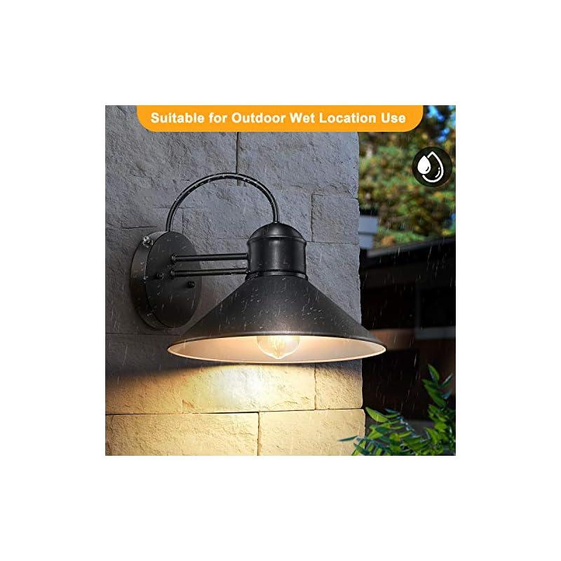 Dusk to Dawn Sensor Wall Sconce Outdoor Lighting Fixture, Black Gooseneck Barn Light Farmhouse Exterior Wall Mount Light…