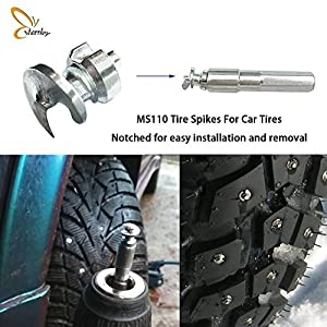 Marrkey New Model 100PCS Car Tires Studs Screw Snow car bide Spikes Wheel Tyres Snow Chains Studs for racing car Tires on Winter 7mm(W) X9.9mm (L) (100)