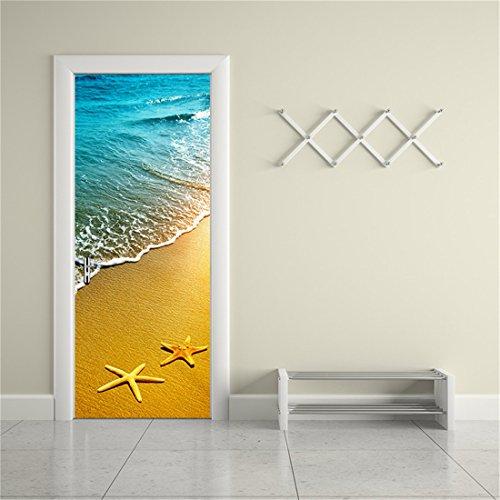 MISSSIXTY 3d Door Wallpaper Murals Wall Stickers - Beach for Home Decoration Self-adhesive Vinyl Removable Art Door Decals 78.7 x 15.2 Inch 2 Pieces by MISSSIXTY