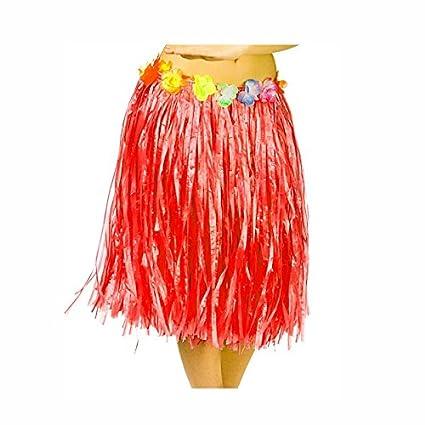Falda Hawaiana Adulto Hula Roja (60 cm): Amazon.es: Juguetes y juegos