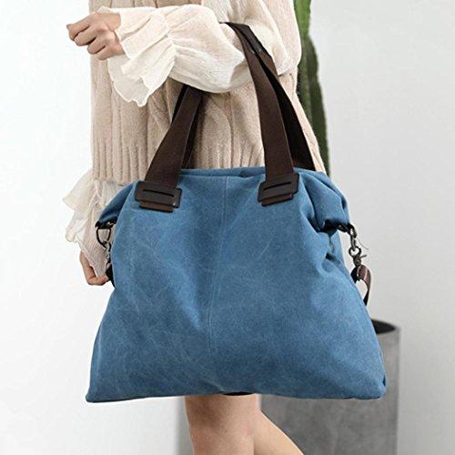 Beautyjourney Casual Sacs En Hobos Cabas Femme Bleu Unique Coton Bandoulière Toile De femmes Plage À URUwqr0