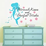 Mermaid Kisses & Starfish Wishes Quote Vinyl Wall Decals, FREE 12'' NAME DECAL, 36'' W by 26'' H, Mermaid Kisses & Starfish Wishes Quotes, Mermaid Decals, Mermaids Decals, Girls Wall Decals