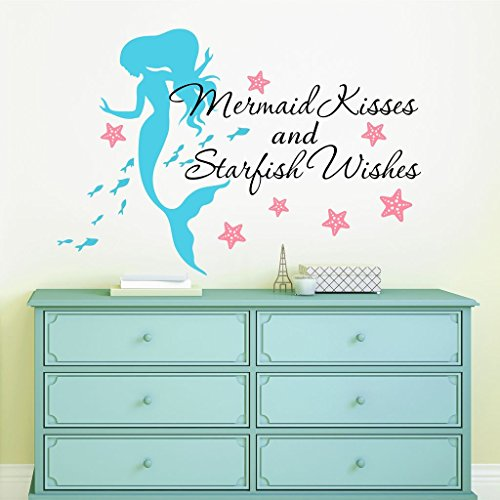 Mermaid Kisses & Starfish Wishes Quote Vinyl Wall Decals, FREE 12'' NAME DECAL, 36'' W by 26'' H, Mermaid Kisses & Starfish Wishes Quotes, Mermaid Decals, Mermaids Decals, Girls Wall Decals by Decor Designs Decals