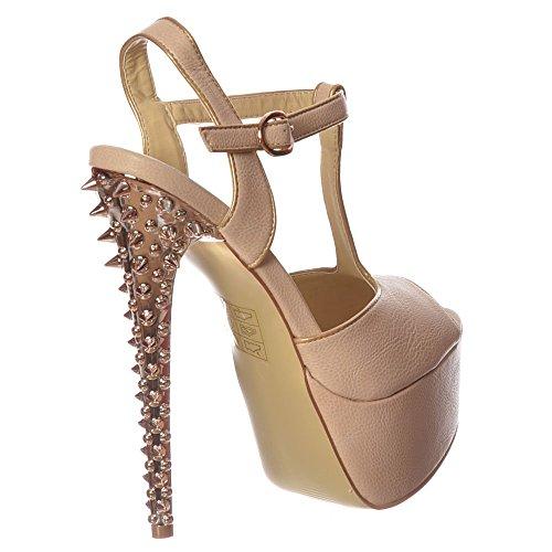 Sandale Talon Plate Nude Beige T Beige Onlineshoe forme Chrome Stiletto Nu Argent Dopés Bar Femmes FxZwfwqzX
