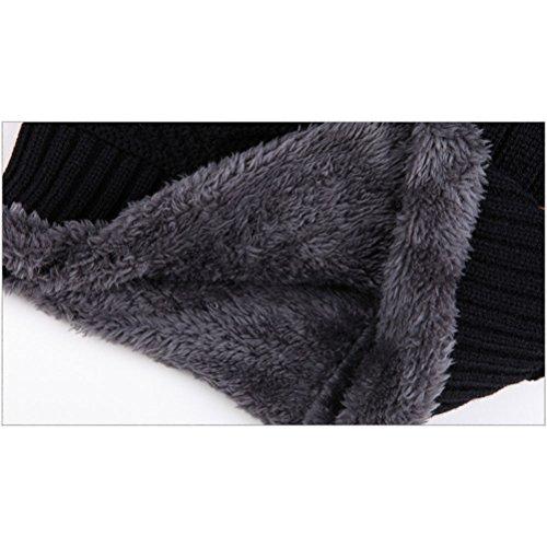 Hombres negro Capucha Invierno de Punto Cuello Proteger las ARAUS Orejas con Espesamiento Sombrero Cabeza Ad1qq