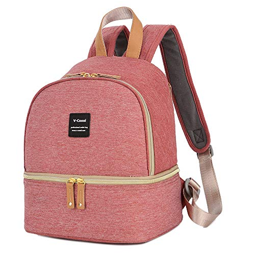 Breast Pump Bag Backpack - Cooler and Moistureproof Bag Double Layer for Mother Baby Bottle Breast Milk Pump Breastfeeding Outdoor Working Backpack (Pink) (Backpack Cooler Pink)