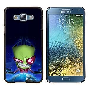 KLONGSHOP // Cubierta de piel con cierre a presión Shell trasero duro de goma Protección Caso - Extranjera divertida Espacio Evil - Samsung Galaxy E7 E700 //