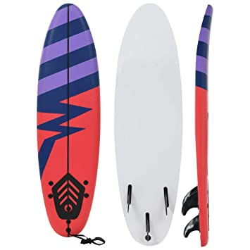 tidyard Tabla de Surf con Tres Aletas y Correa de Tobillo de XPE, PP y EPS 170 cm Azul, Morado y Rojo(Rayas): Amazon.es: Hogar