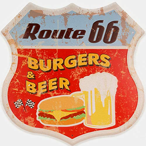 "HANTAJANSS Burgers & Beer Metal Signs Vintage Shield Signs for Noshery Decoration 11.5""x12"" (Burgers Beer Signs)"