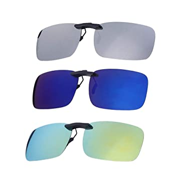 VORCOOL 3pcs Gafas de Sol de Clip en Flip Up Lente polarizada sin Marco Rectangle Lens