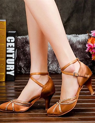Shoes Heel Dance Women's Chunky Other ShangYi Satin Nude Latin Black qnapwg4Eg