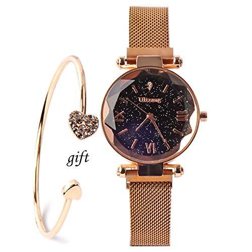 Luxury Starry Sky Women Watches Rose Gold Bracelet Stones Quartz Ladies Watch Thin Steel Female Waistwatch