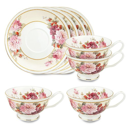 Gracie Bone China 8-Ounce Tea Cup and Saucer, Pink Peony Strawberry, Set of 4 (Saucer Peony Tea)