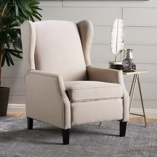 Westeros Traditional Wingback Fabric Recliner Chair (Wheat) - Traditional Wingback Chair