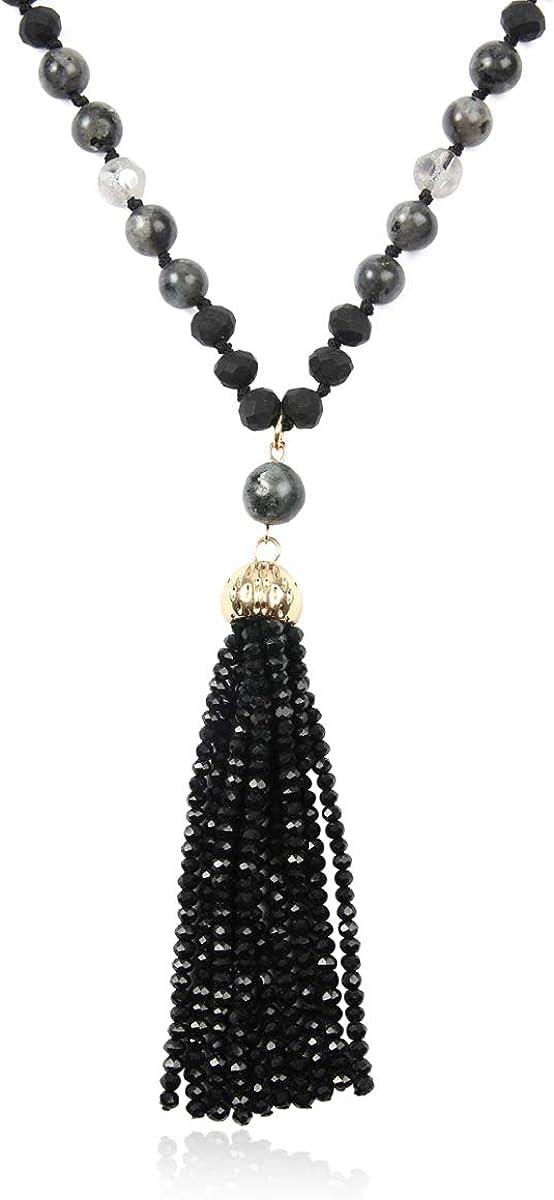 RIAH FASHION Bohemian Pendant Long Beaded Statement Necklace Boho Wood Bead Long Chain Wrap Y Lariat Sparkly Crystal Natural Stone Quartz Charm