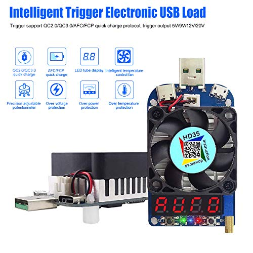 Electronic Load Tester USB Load Resistor Module Trigger QC2.0 QC3.0 35W 0.25-5A HD35 USB Interface Discharge Adjustable Constant Current Intelligent Temperature Control with Cooling Fan (Usb Load Tester)